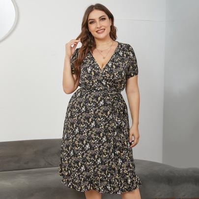 Large Size V-neck Short-sleeved Lace-up Floral Dress Nihaostyles Wholesale Clothing NSJR84919