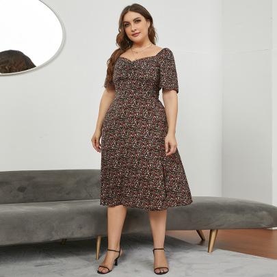 Large Size Square Neck Long Floral Slit Dress Nihaostyles Wholesale Clothing NSJR84920