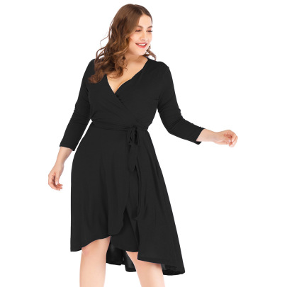 Plus Size V-neck Solid Color Long-sleeved Belted Package Hip Dress Nihaostyles Wholesale Clothing NSJR84921