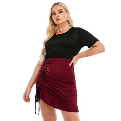 Plus Size Round Neck Short-sleeved Drawstring Pleated Package Hip Dress Nihaostyles Wholesale Clothing NSJR84922