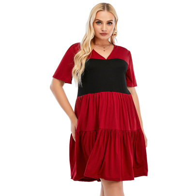 Summer Plus Size V-neck Short-sleeved Stitching Loose Short Dress Nihaostyles Wholesale Clothing NSJR84923