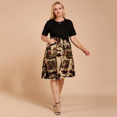 Plus Size Summer Slim Mid-length Stitching Print Short-sleeved Dress Nihaostyles Wholesale Clothing NSJR84924