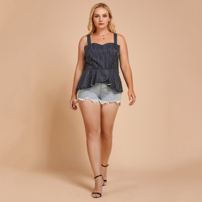 Plus Size Summer Ruffled Striped Wrapped Chest Camisole Nihaostyles Wholesale Clothing NSJR84925