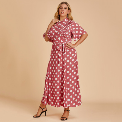 Plus Size Summer Stand Collar Half-sleeve Polka Dot Lace-up Loose Dress Nihaostyles Wholesale Clothing NSJR84926