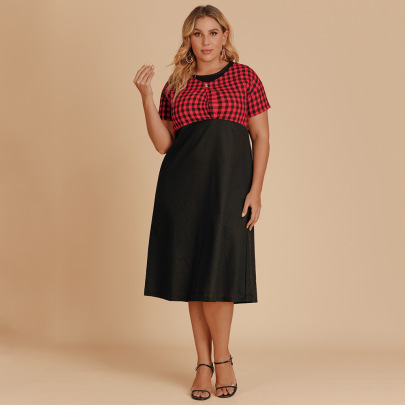 Plus Size V-neck Fake Two-piece Plaid Dress Nihaostyles Wholesale Clothing NSJR84927