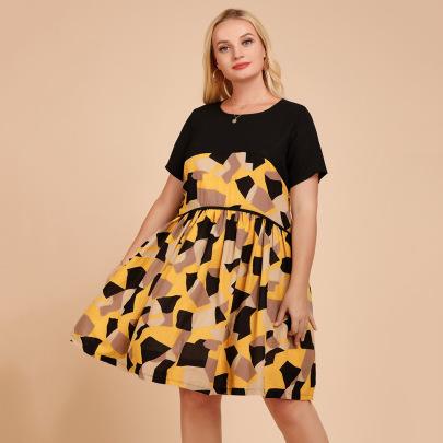 Plus Size Round Neck Chiffon Stitching Print Dress Nihaostyles Wholesale Clothing NSJR84928