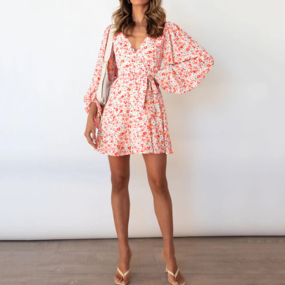 Autumn V-neck Long-sleeved Lace-up Floral Dress Nihaostyles Wholesale Clothing NSJR84934