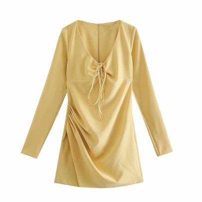 Solid Color V-neck Halterneck Sling Hollow Dress Nihaostyles Wholesale Clothing NSAM84946