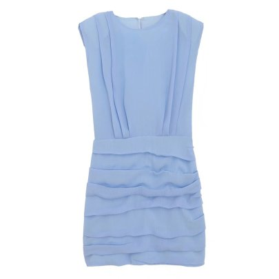 Round Neck Shoulder Pad Sleeveless Pleated Tight Dress Nihaostyles Wholesale Clothing NSAM84950