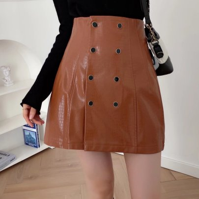 High-waist Slim Double-breasted Faux Leather Skirt Nihaostyles Wholesale Clothing NSAM84951