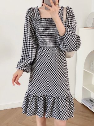 Plaid  Square Neck Long-sleeved Backless Dress Nihaostyles Wholesale Clothing NSAM84956