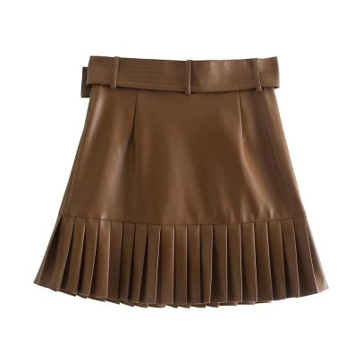 Solid Color Imitation Leather With Belt Pleated Skirt Nihaostyles Wholesale Clothing NSAM84957