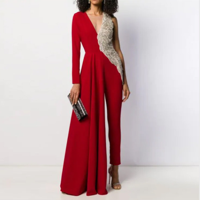 Sexy Deep V Long-sleeved Sequined Stitching Asymmetrical  Jumpsuit Nihaostyles Wholesale Clothing NSYIS85125