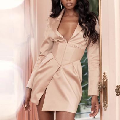 Sexy Deep V Lapel Long-sleeved Slim Dress Nihaostyles Wholesale Clothing NSYIS85123