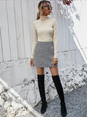 Black And White Plaid High-waist Skirt Nihaostyles Wholesale Clothing NSXIA85122