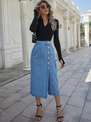 High-waist Single-breasted Denim Slit Skirt Nihaostyles Wholesale Clothing NSXIA85119