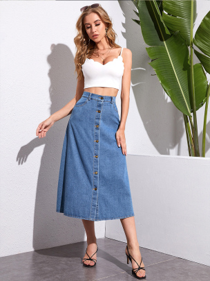 Single-breasted Washed Blue High Waist Denim Skirt Nihaostyles Wholesale Clothing NSXIA85118