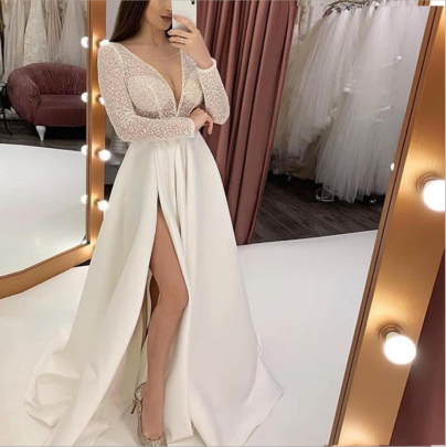 Solid Color V-neck Perspective Slit Dress Nihaostyles Clothing Wholesale NSYIS85485