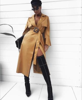 V-neck Lace-up Mid-length Slit Suit Dress Nihaostyles Wholesale Clothing NSYIS85066