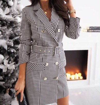 Long-sleeved Plaid Long Blazer Dress With Belt Nihaostyles Clothing Wholesale NSOUY84328