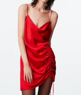 Autumn Square Neck Pleated Mini Sling Dress  Nihaostyles Wholesale Clothing NSAM84952