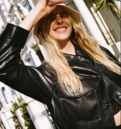 black imitation leather single-breasted shirt jacket nihaostyles wholesale clothing NSAM84963