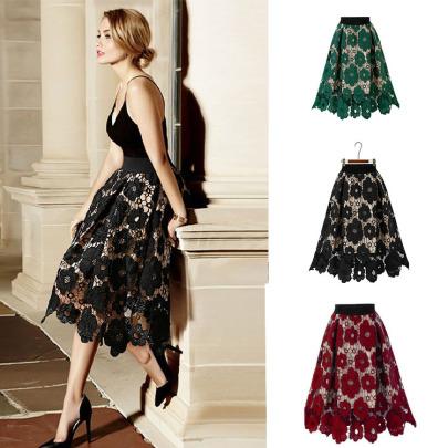 Plus Size Flower Lace Stitching Skirt Nihaostyles Wholesale Clothing NSXIA85070