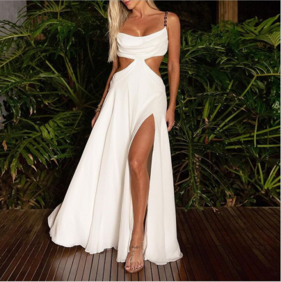 Solid Color Hollow Slit Suspender Dress Nihaostyles Clothing Wholesale NSYIS85483