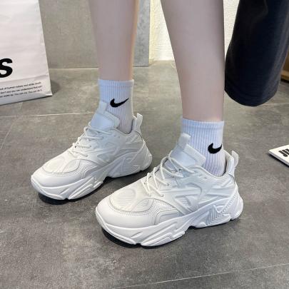 White Lace Up Platform Sneakers Nihaostyles Clothing Wholesale NSYUS85049