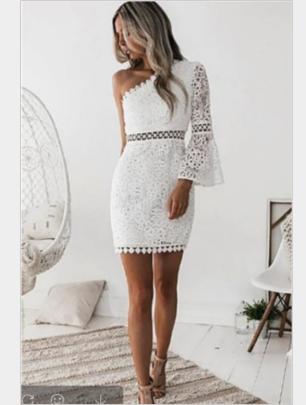 Sexy One-shoulder Lace Stitching Dress Nihaostyles Wholesale Clothing NSYIS85114