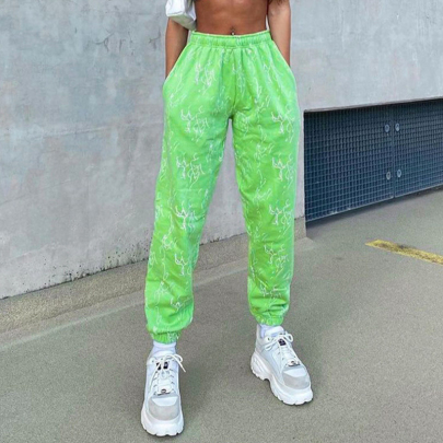 Printing Fluorescent Green Casual Tied Foot Pants Nihaostyles Wholesale Clothing NSYID85063