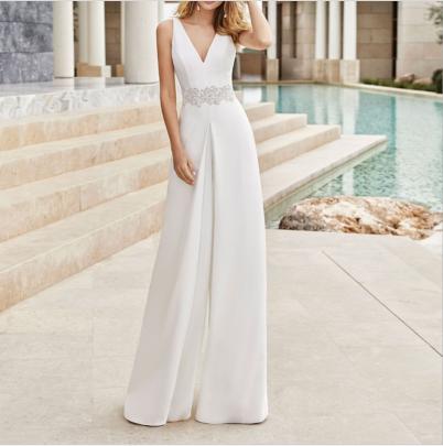 Sleeveless V-neck Slim Jumpsuit Nihaostyles Clothing Wholesale NSYIS85481