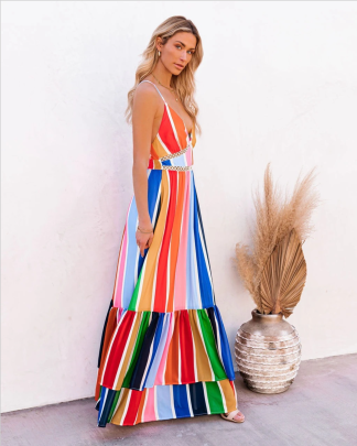 V-neck Sleeveless Rainbow Striped Dress Nihaostyles Clothing Wholesale NSYIS85477