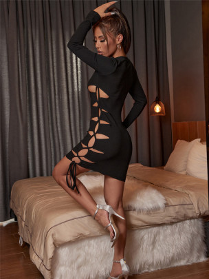 Slim Hollow Strap Long-sleeved High-slit Dress Nihaostyles Clothing Wholesale NSXYA84966