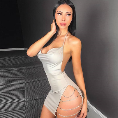 Halter Strap Side Slit Rhinestone Chain Sling Dress Nihaostyles Clothing Wholesale NSXYA84979