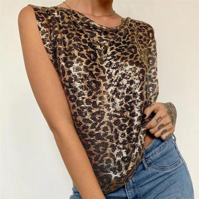 Leopard Print Metallic Sequins Vest Nihaostyles Clothing Wholesale NSXYA84985