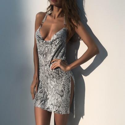 Metal Snake Print Slit Dress Nihaostyles Clothing Wholesale NSXYA85001