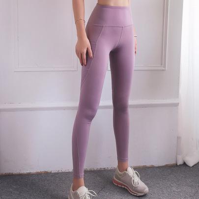 High Waist Pocket Mesh Stitching Yoga Pants Nihaostyles Clothing Wholesale NSXER85013
