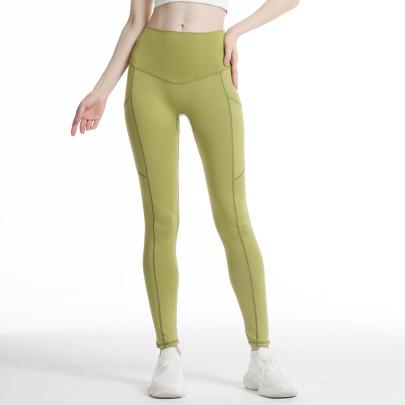 High Waist Hip-lifting Witn Pocket High-elastic Yoga Pants Nihaostyles Wholesale Clothing NSOUX85022