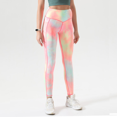 Tight High-waist Tie-dye High-elastic With Pocket Yoga Pants Nihaostyles Wholesale Clothing NSOUX85020