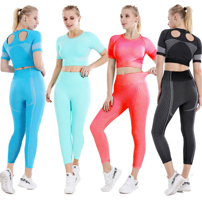 Seamless Back Hollow Fast Dry T-shirt And High-waist And High-Elastic Pants Fitness Yoga Two-piece Set Nihaostyles Wholesale Clothing NSOUX85033