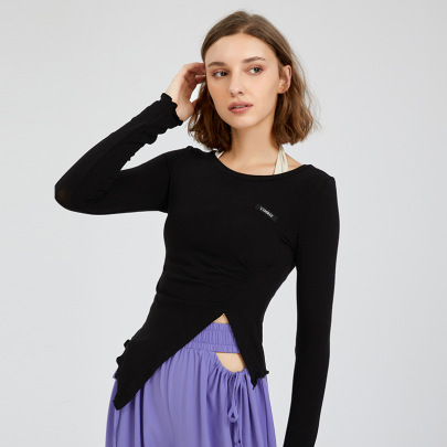 Training Quick-drying Irregular Hem Long-sleeved Sports T-shirt Nihaostyles Wholesale Clothing NSFAN85034