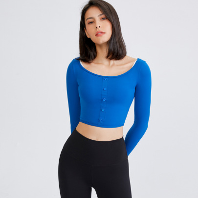 Round Neck Quick-drying Long-sleeved Buttoned Sports T-shirt Nihaostyles Wholesale Clothing NSFAN85038