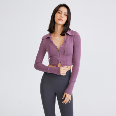 Sexy Cropped Slim Long-sleeved With Zipper Sports Top Nihaostyles Wholesale Clothing NSFAN85039
