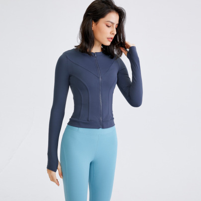 Solid Color Tight Stretch Quick-drying Long-sleeved With Zipper Yoga Top Nihaostyles Wholesale Clothing NSFAN85040