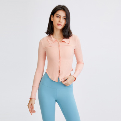 Sexy Lapel Long-sleeved Tight Quick-drying Fitness Yoga Top Nihaostyles Wholesale Clothing NSFAN85043