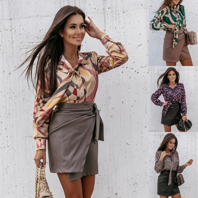 Long-sleeved Print Lapel Lace-up Blouse Nihaostyles Wholesale Clothing NSJC85090
