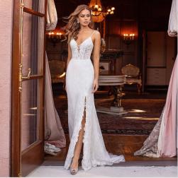 V-neck Slim lace stitching slimming simple tail evening dress nihaostyles clothing wholesale NSYIS85475