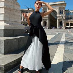 sleeveless hanging neck stitching dress nihaostyles clothing wholesale NSYIS85474