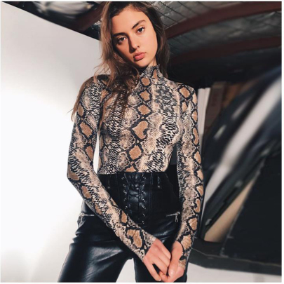 Leopard Print Long-sleeved High Collar Jumpsuit Nihaostyles Wholesale Clothing NSJC85077